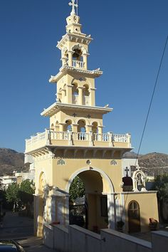 Bell tower of the Church of Evangelistria (Annunciation), Palaiochora village. Crete Island, Greek Islands, San Francisco Ferry, Greece, Landscapes, Tower, Building, Places, Travel