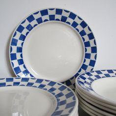 BADONVILLER , assiettes plates et assiettes creuses en faïence art déco, modèle DAMAS France de la boutique CrazyFrenchVintage sur Etsy