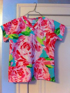 if this really exists... i'm switching professions and schools, immediately; Scrubs Top made with Lilly Pulitzer Fabric