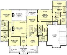 House Plans One Story, Family House Plans, Best House Plans, Dream House Plans, New Home Plans, Farmhouse Floor Plans, Craftsman House Plans, Farmhouse Renovation, Farmhouse Ideas