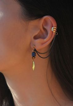 Leaf Chain Ear Cuff Earrings by Maleena09 on Etsy