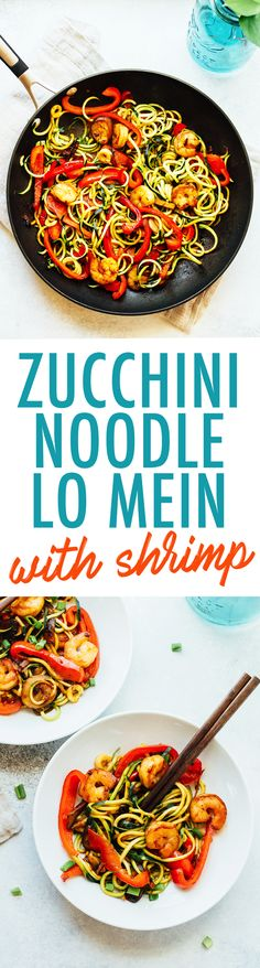 Have dinner ready in less than 20 minutes with this quick and easy zucchini noodle shrimp lo mein. It's loaded with veggies and perfect for busy weeknights. Paleo and gluten-free. (dinner for one ground beef) Seafood Recipes, Vegetarian Recipes, Cooking Recipes, Healthy Recipes, Vegetarian Tapas, Hcg Recipes, Tapas Recipes, Clean Eating, Healthy Eating