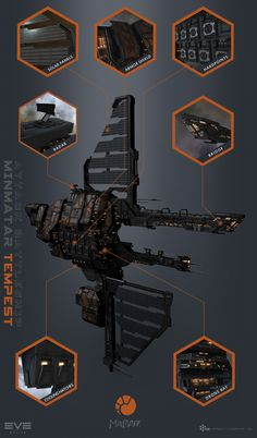 """This awesome looking rusty beast is called the """"Tempest"""" and was designed by Stephan Stölting. I was responsible for modeling, baking of textures and FX work on the model, as well as getting the model into through the gaming pipeline. Space Ship Concept Art, Concept Ships, Spaceship Interior, Spaceship Design, Eve Online Ships, Online Art, Sci Fi Rpg, Arte Sci Fi, Sci Fi City"""