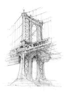Manhattan Bridge res - New York- Luke Adam Hawker. Architecture Drawing Sketchbooks, Landscape Architecture Drawing, Architecture Concept Drawings, Bridge Drawing, Line Drawing, New York Drawing, New York Tattoo, Building Sketch, Manhattan Bridge