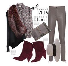 """Best Trend 2016 - Necktie Blouse"" by hattie4palmerstone ❤ liked on Polyvore featuring Arma, Liska, Rebecca Minkoff, Maison Michel and besttrend2016"