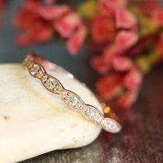 Matching Scalloped Diamond Wedding Ring Vintage by LaMoreDesign
