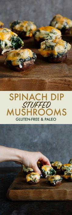 Spinach Dip Stuffed Mushrooms (dairy-free, healthy, paleo) – Lexi's Clean Kitche… Stuffed Spinach Mushrooms (Dairy Free, Healthy, Pasta) – Lexi's Clean Kitchen stuffed mushrooms # appetizers good health Tapas, Paleo Appetizers, Appetizer Recipes, Mushroom Appetizers, Clean Eating Snacks, Healthy Snacks, Healthy Stuffed Mushrooms, Healthy Spinach Dip, Vegetarian Recipes