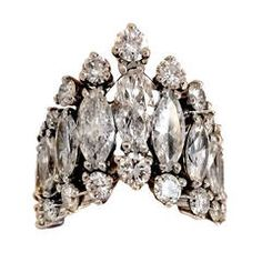 Eight Carats Marquise and Round-Cut Diamond Ring