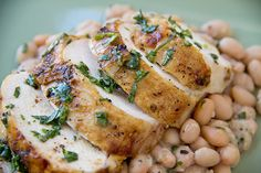 Roasted Chicken with Fresh Herb Sauce over Creamy, Tuscan-Style White Beans