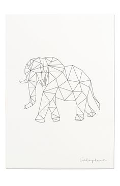 Items similar to Elephant Art Print, Geometric Elephant, Elephant Prints, Elephant Line Art, Safari Geometric Elephant Tattoo, Elephant Art, Elephant Tattoos, Elephant Watercolor, Geometric Drawing, Geometric Lines, Letter Wall Art, Polygon Art, Art Plastique