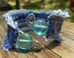 Upcycled Frayed Denim Wire Cuff Bracelet with Glass by DenimReDooz Diy Denim Bracelets, Cuff Bracelets, Diy Necklace Bracelet, Denim Crafts, Owl Charms, Recycled Denim, Hippie Style, Jewelry Crafts, Upcycle