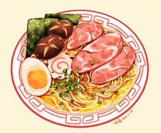 Illustration by Pixiv ID 3533220 ramen Cute Food Art, Food Sketch, Food Cartoon, Watercolor Food, Food Painting, Food Drawing, Aesthetic Food, Food Illustrations, Food Design