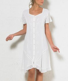 Take a look at this Coline White Embroidered Button-Front Shift Dress today!