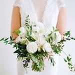 White Wedding Bouquet from La Fleuriste All White Wedding, White Wedding Bouquets, Bride Bouquets, Bridesmaid Bouquet, Green Wedding, Floral Wedding, White Weddings, Wedding Flower Inspiration, Flower Ideas
