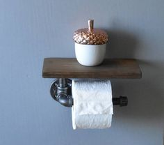Toilet Paper Holder with Floating Top Shelf, Rustic Pipe Bathroom Decor, Industrial Farmhouse Bathroom Toilet Paper Dispenser, Roll Holder Wood And Pipe Shelves, Rustic Shelves, Pallet Shelves, Wood Shelf, Entry Way Lighting Fixtures, Bathroom Lighting, Industrial Toilets, Toilet Paper Dispenser, Glass Sink