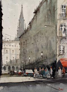 """Duncan Halleck: """"Place de la Bourse"""" 28x38cm, 2016, Watercolor Painting"""