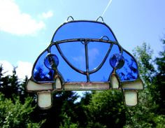 Volkswagen Beetle VW Bug Stained Glass Blue by GothicGlassStudio, $37.00