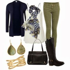 Olive green pants blue cardigan black boots outfit, kinda reminds me of the ninth doctor Olive Pants Outfit, Black Boots Outfit, Olive Outfits, Olive Jeans, Olive Green Pants, Khaki Green, Green Jeans, Green Shorts, Mode Outfits