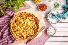 Dette kan fort bli en ny fredagsfavoritt. Få oppskriften her! Frisk, Vegetable Pizza, Quiche, Tacos, Vegetables, Cooking, Breakfast, Recipes, Dinners