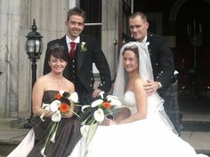 Bride and her wedding party at Airth Castle