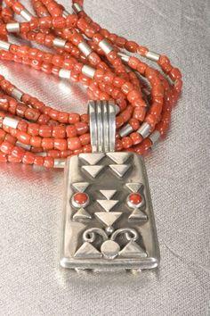 Santo Domingo Harold Lovato Silver and Red Coral Multi Strand Necklace