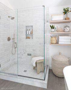 Our frameless glass shower enclosure Bathroom Renos, Bathroom Renovations, Small Bathroom, Shower Bathroom, Master Bathrooms, Master Bath Tile, White Master Bathroom, White Bathrooms, Shower Tiles