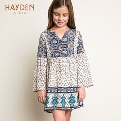 Quality HAYDEN Kids Girls Boho Dress Girl Print Dress Brand Long Sleeved Teenagers Dresses Ivory Black Flare Sleeve 2016 Casual with free worldwide shipping on AliExpress Mobile Frocks For Girls, Little Girl Dresses, Girls Dresses, Party Dresses, Teenage Girl Outfits, Kids Outfits, Toddler Dress, Baby Dress, Dress Girl