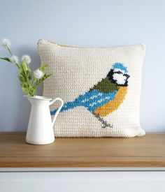 Blue Tit Cushion Cover Crochet Pattern PDF Instant Download PDF Pattern Pillow Woodland Garden Bird Vintage Country Living