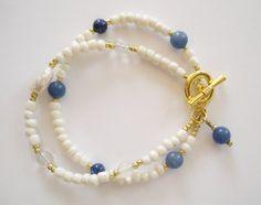 Blue and cream gemstone bracelet.