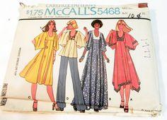 1970s Boho Draped Asymmetric Angel Sleeve Dress sewing pattern McCalls 5468 Size…