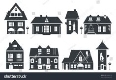 vector illustration of europe and american houses