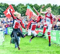 Maja Alm, Ida Bobach and Emma Klingenberg celebrate victory for Denmark