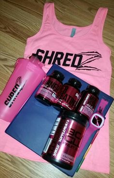 Its here! #shredz thirty day program. Nutrition, gym, home workout, core workout and booty workout guides. Gcaa+glutamine, burner, multi vitamins, and creatine. Starting tomorrow! Tonight its penn station, pizza, wine and strawberries.