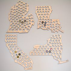 The ultimate gift for any craft beer drinker, these state beer cap maps are just what you need to keep track of your local breweries. Laser cut in Oklahoma USA. available @ homewetbar.com!