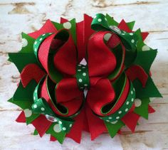 Christmas Red and Green Boutique Hairbow on Etsy, $8.00