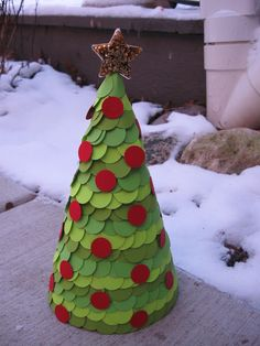 Paper Covered Cone Christmas Tree  Craft Tutorial  #christmas #craft #tree #holiday