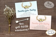 Bring A Book cards are a great addition to your baby shower! Great idea to have your guests bring a book instead of a card. Mail these insert cards along with the baby shower invitations to help build the new baby's library.   INSTANT DOWNLOAD - Bring a Book Instead of Card Insert Pink Boho Florals and Antlers Baby Shower. Find more coordinating printables at JanePaperie: https://www.etsy.com/shop/JanePaperie