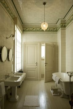 Two of everything bathroom :: vintage stylings and soft lighting fixtures makes this moody bathroom come alive via The Thinking Tank