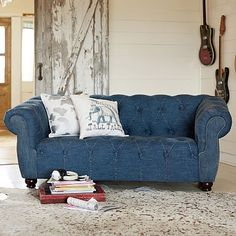 Junk Gypsy Blue Jean Chesterfield Loveseat #pbteen... New favorite sofa for the playroom!