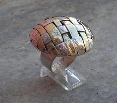 textil en metal, para un anillo de plata y cobre