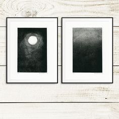 "Fine art print set, ""Moonlight"", monotype prints, monoprint set, moonlight art, original fine art, fine art prints, one of a kind art prints"