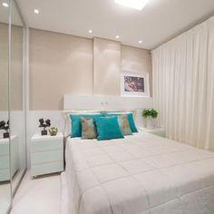 Quarto com cortina Branca de Actual Design - 104095 no Viva Decora