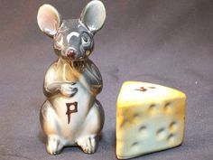 Mouse and Cheese Wedge Salt & Pepper Shaker Set by GarageSaleGlass, $11.99
