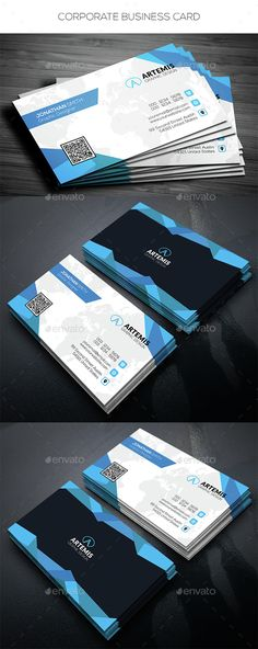 Corporate Business Card — Photoshop PSD #map #card • Available here → https://graphicriver.net/item/corporate-business-card/14739852?ref=pxcr