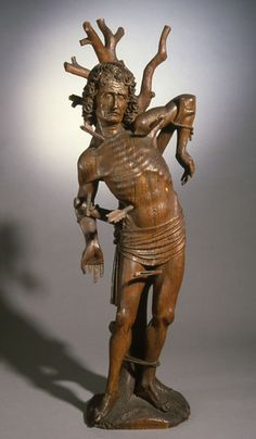 i want the church to be dedicated to St Sebastian and for it to have a statue of him outside the door. i really like the look of this one; its emaciated look appeals to my Weird Western leanings.