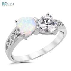 White Australian Lab Opal Synthetic Clear CZ Heart Shape 925 Sterling Silver Promise Ring Love Gift Heart Shape Ring Valentines Gift