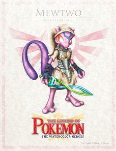 Digital watercolor type, croosover of pokemon and legend of zelda. Les Pokemon, Pokemon Comics, Pokemon Fan Art, Pokemon Sets, Pokemon Stuff, Mew E Mewtwo, Digimon, Pokemon Mignon, Sailor Moon