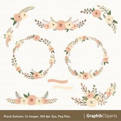 Floral Autum. Wreaths Clipart. Floral Clipart. by Graphikcliparts