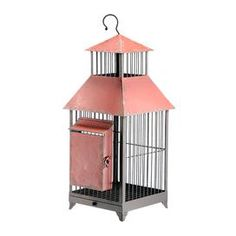 Bring a touch of charm to your home with this eye-catching accent.  Product: BirdcageConstruction Material: Metal Color: Antiqued redDimensions: 24 H x 10 W x 9.5 D