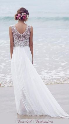 Inspired by the fabulously popular Anna Campbell Madison style Boho Beaded beach wedding gown. Each dress is hand cut and beaded with Swarovski crystals and oth